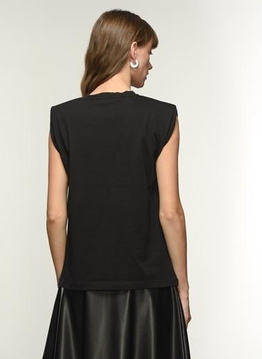NGSTYLE Ngkaw21Ts0018 Taşlı Vatkalı Tshirt Siyah